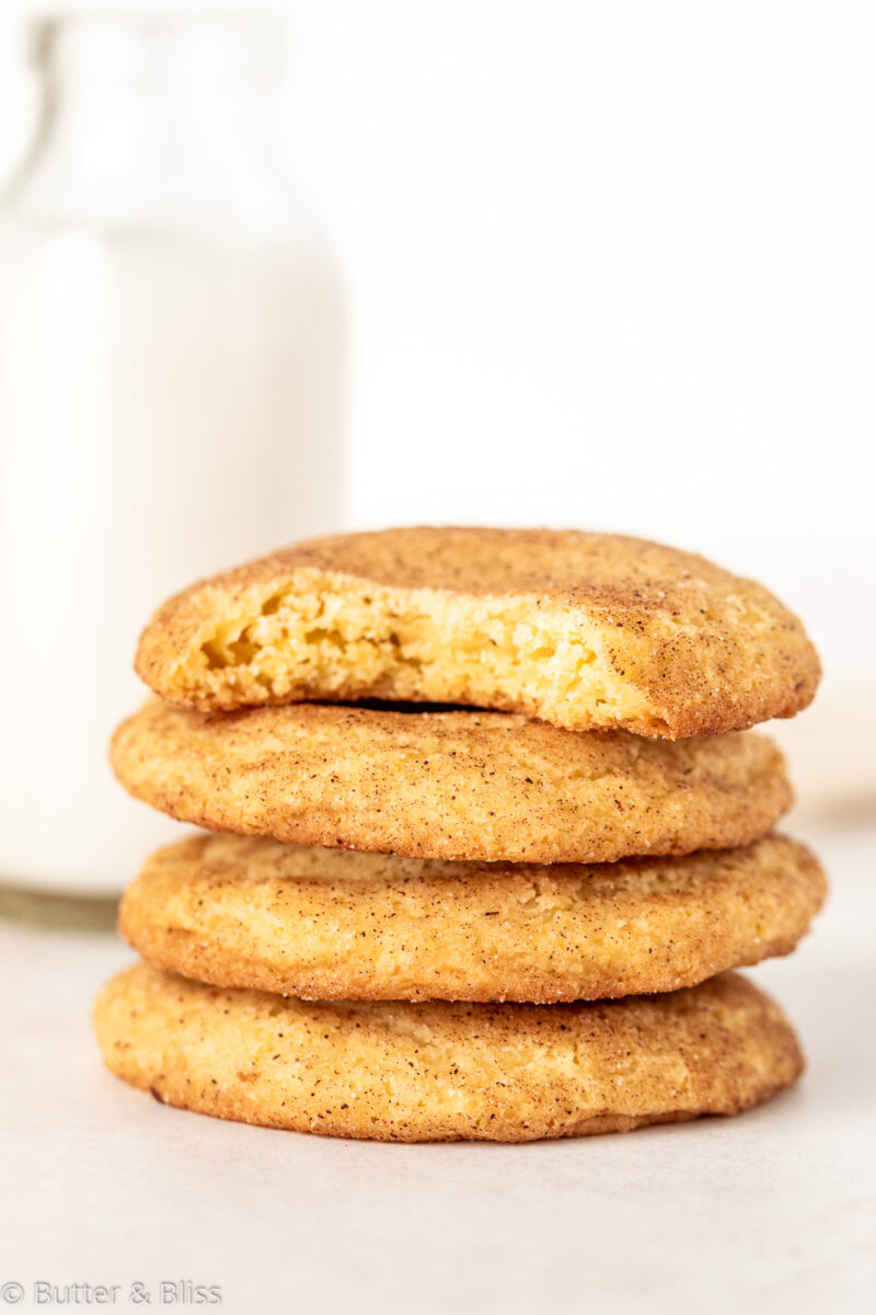 Small batch Snickerdoodles in a stack