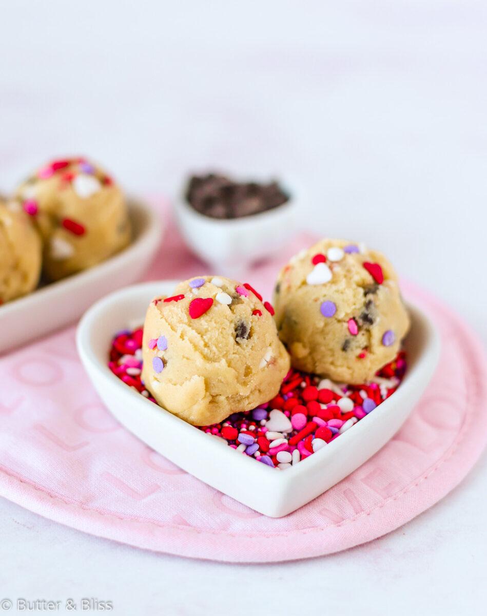 Edible chocolate chip cookie dough balls
