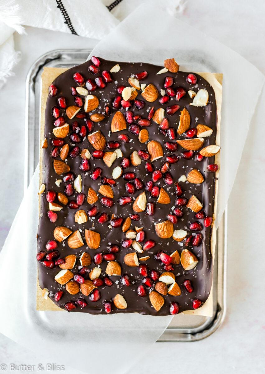 Full sheet of dark chocolate bark