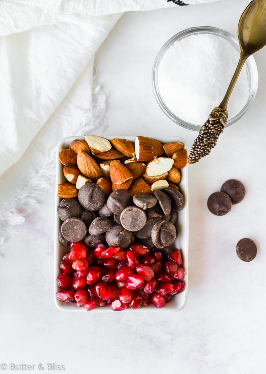 bowl of ingredients for chocolate bark