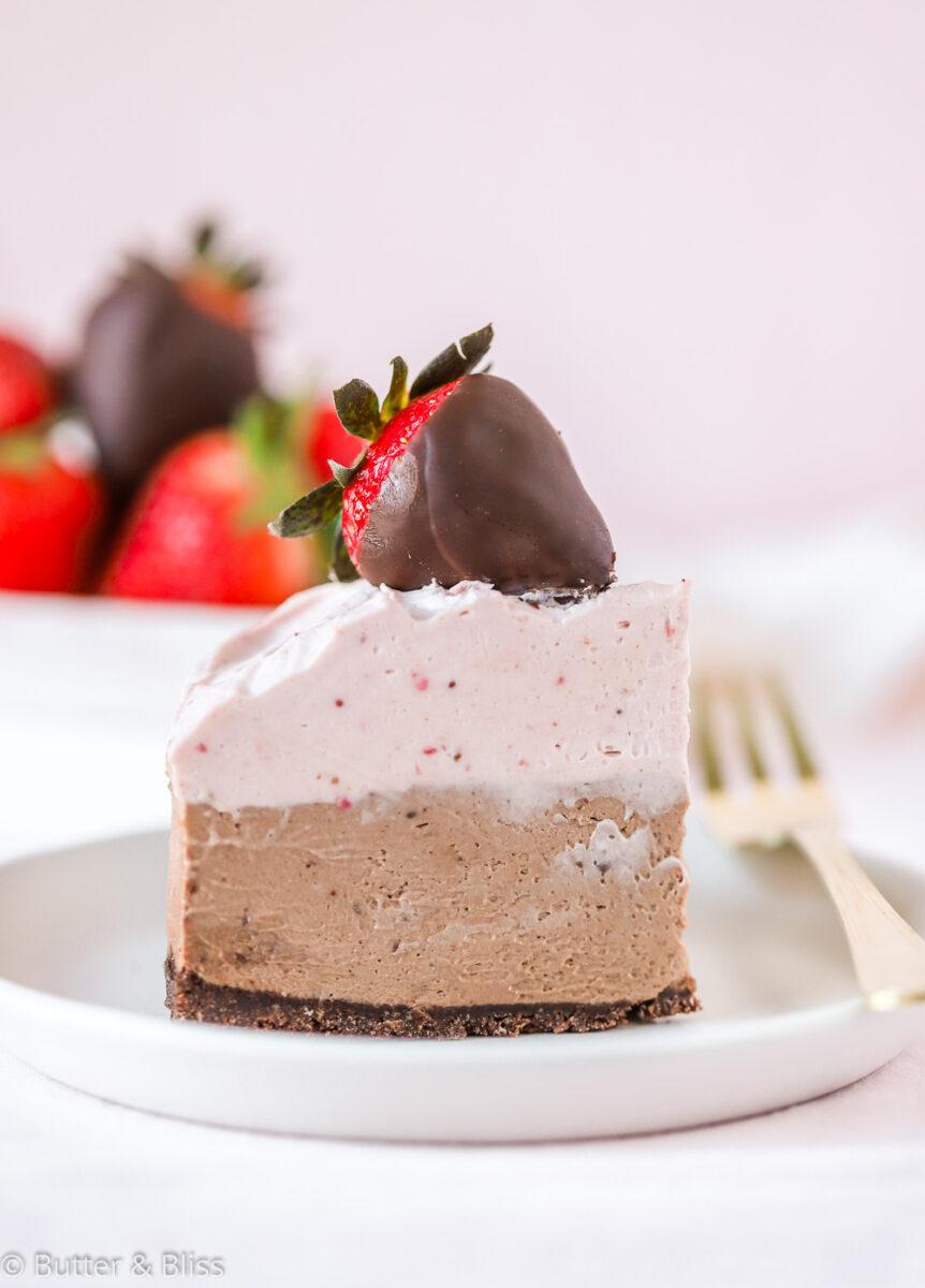 Single slice of chocolate mousse cheesecake