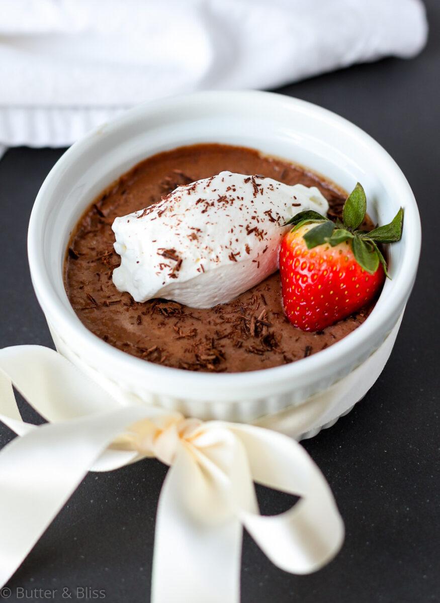 Chocolate pots de creme in ramekin