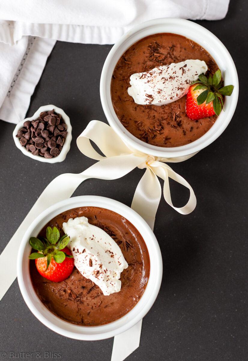 Two ramekins with chocolate pots de creme