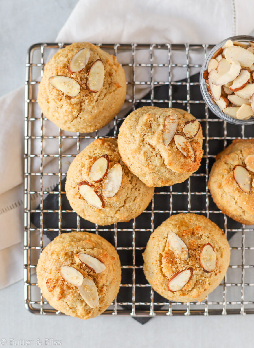 Almond cookies cooling on a rack