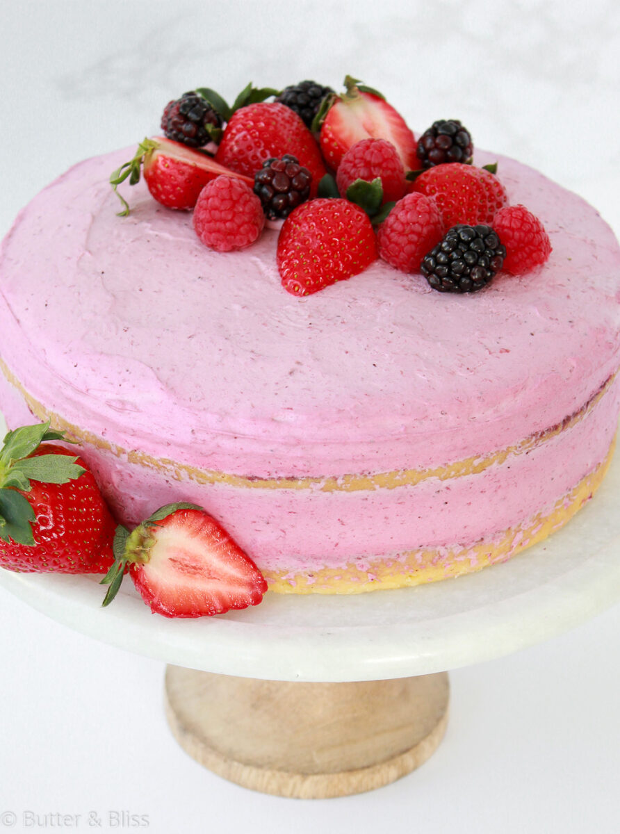 Genoise layer cake with a berry mousse filling
