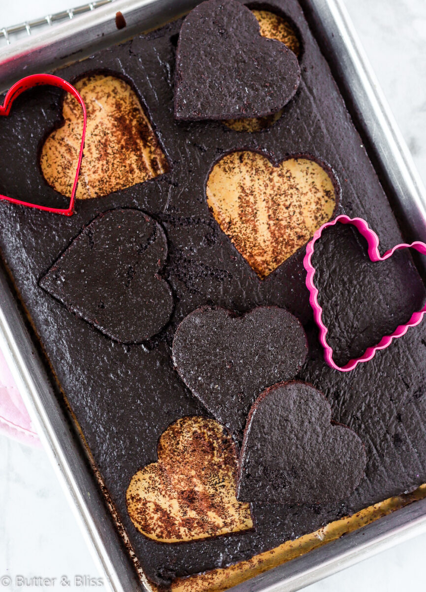 Chocolate sheet cake with heart cut outs