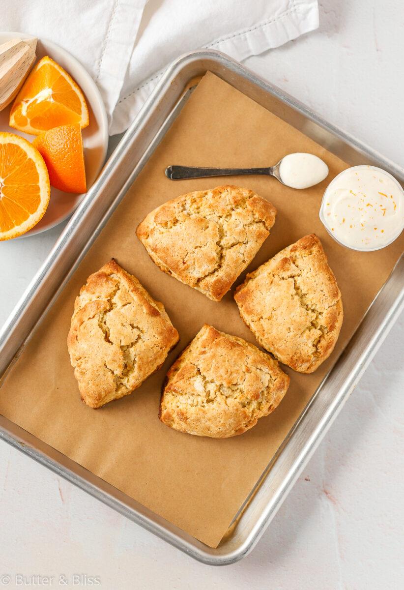 Fresh baked scones on a baking sheet