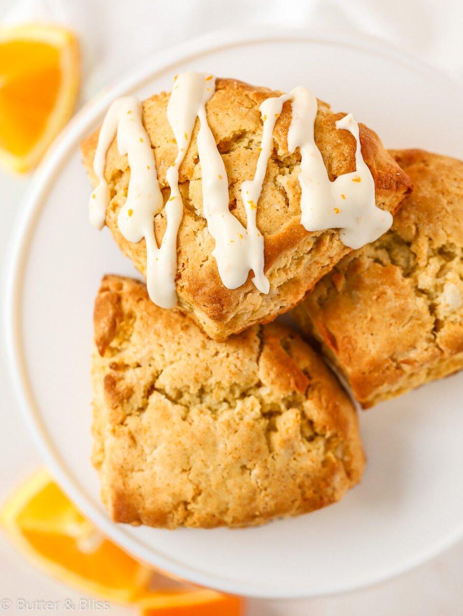 Plate of freshly baked orange scones