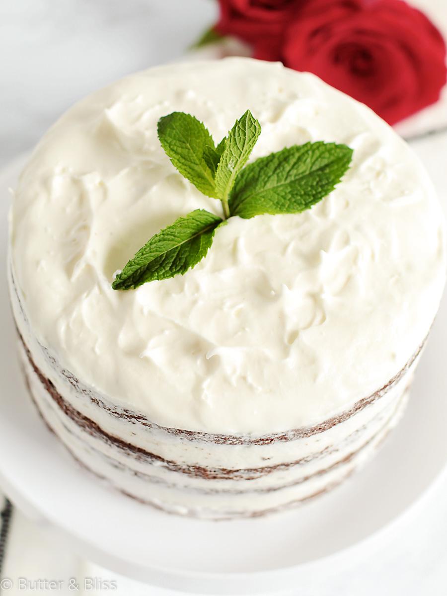 Top of chocolate mint mini cake