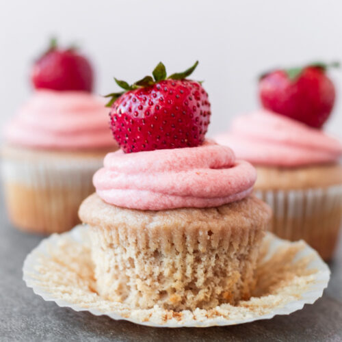 Fruit cupcake with liner peeled off