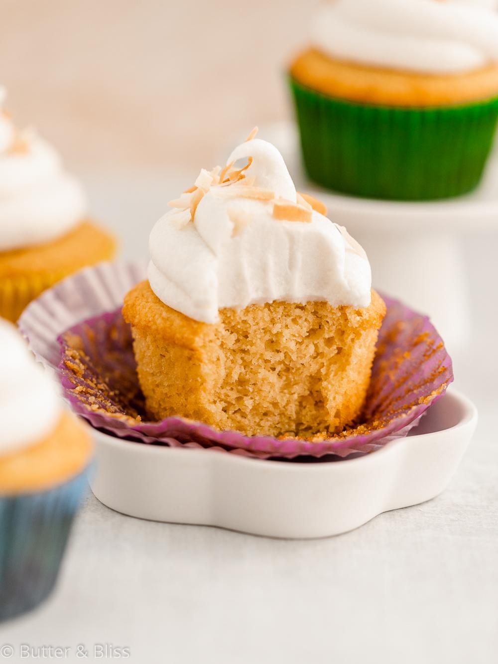Vanilla cupcake on a small plate