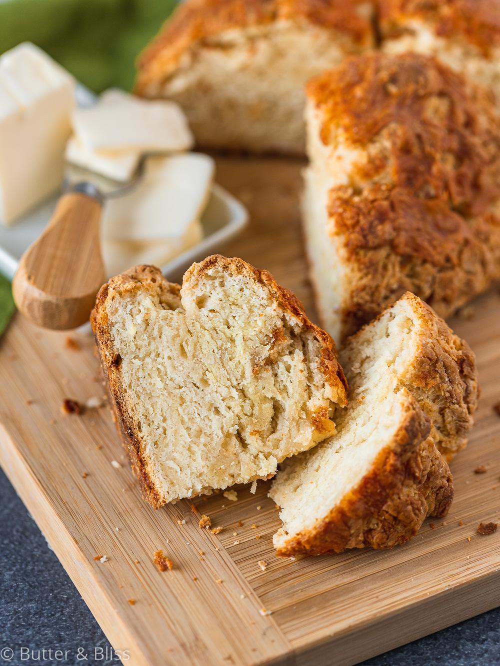 Piece of irish soda bread and butter