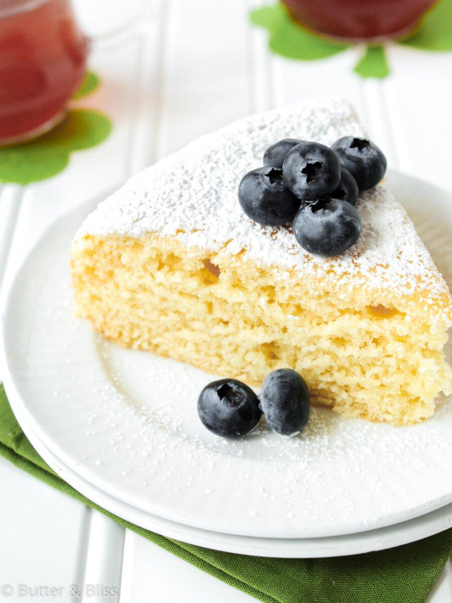 Slice of tea cake on a plate