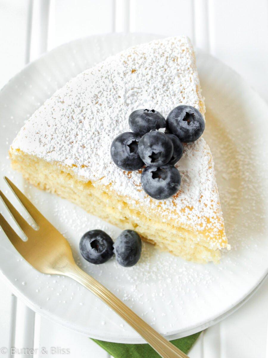 Slice of irish tea cake with berries