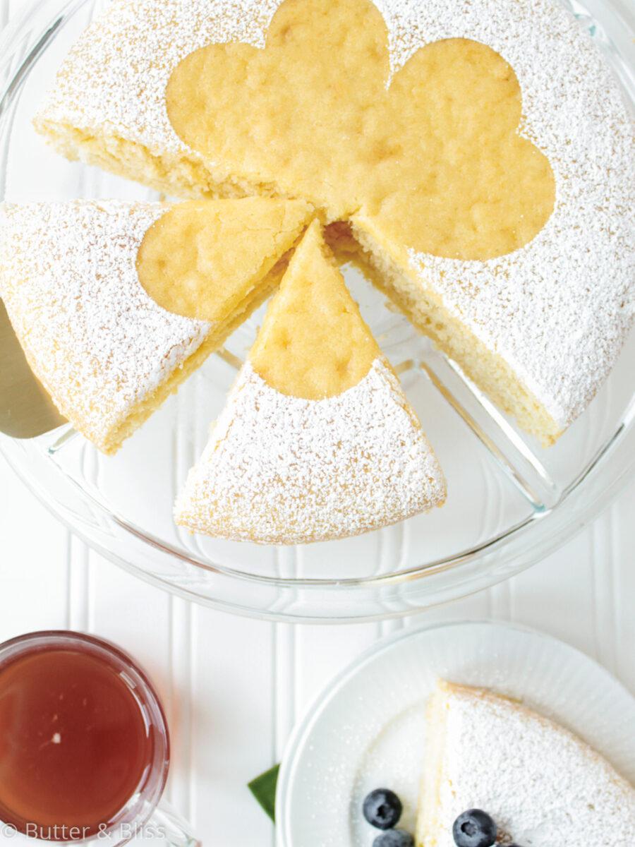 Irish sponge cake with cut slices