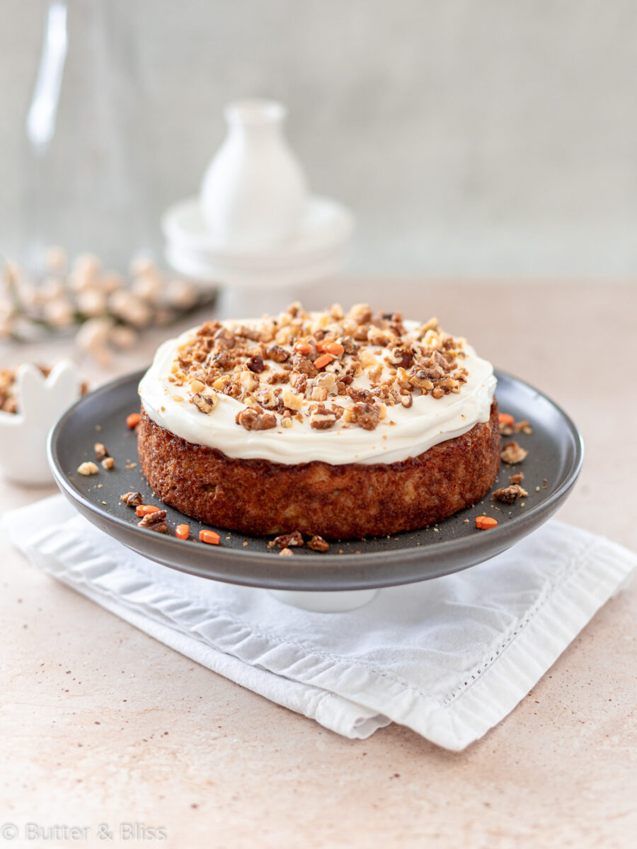 Freshly baked and frosted mini carrot cake