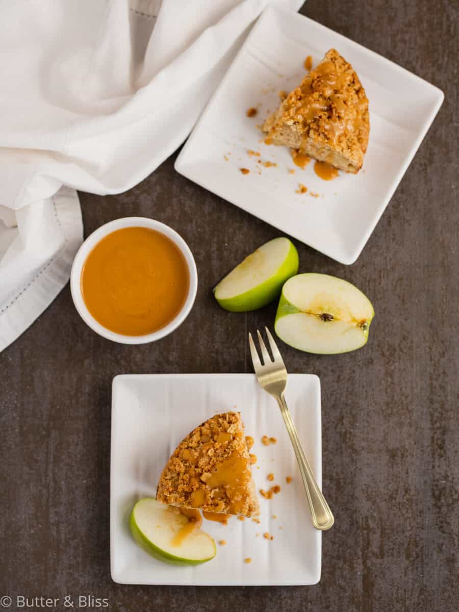 Slices of apple cake on plates