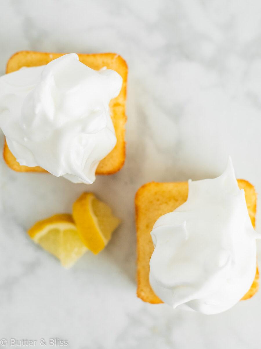 Top of mini lemon cakes
