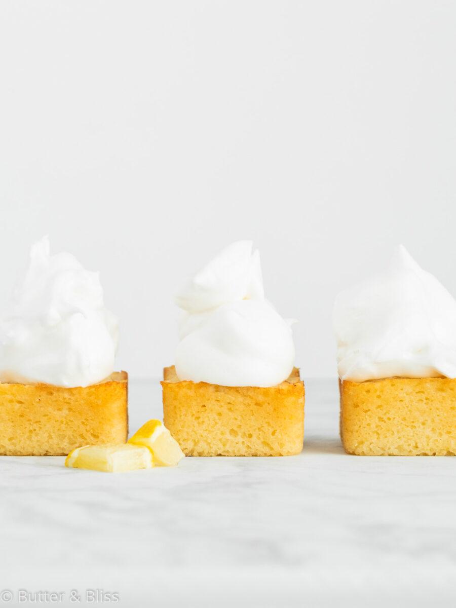 Three mini lemon cakes in a row