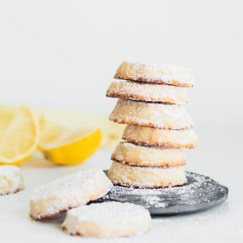 Lemon shortbread cookies stacked