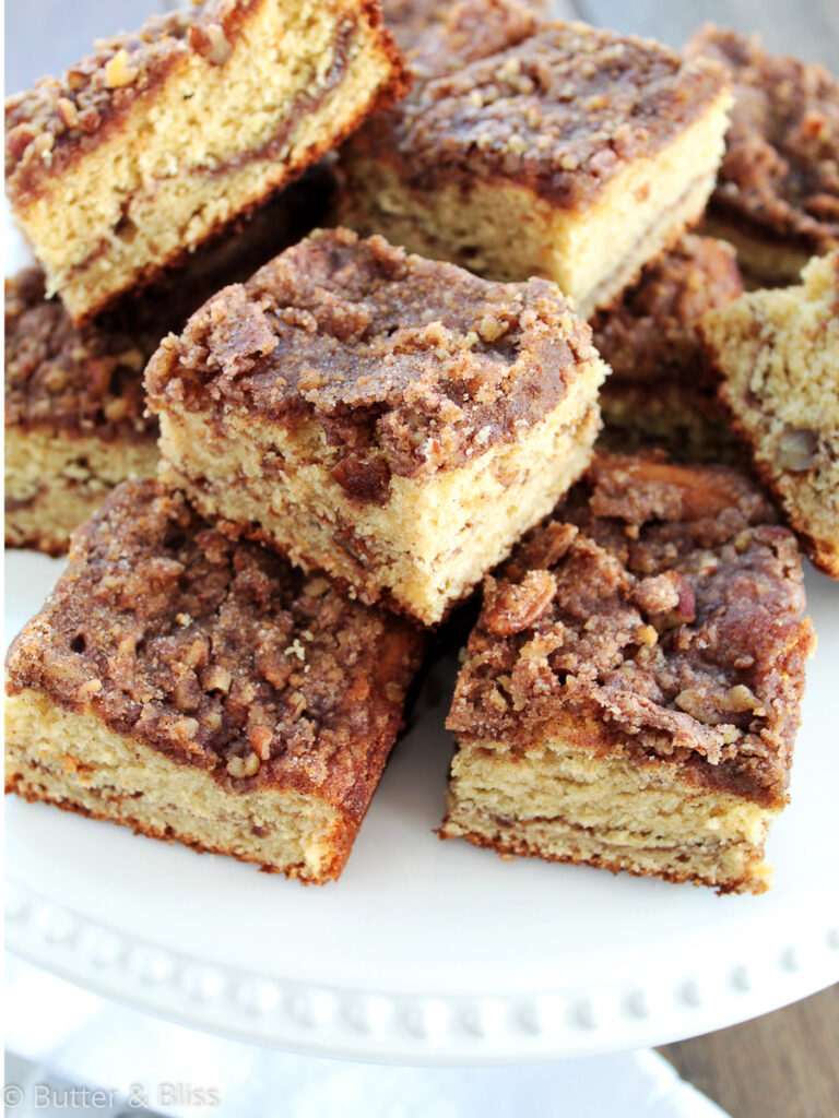 Applesauce coffee cake slices on a platter