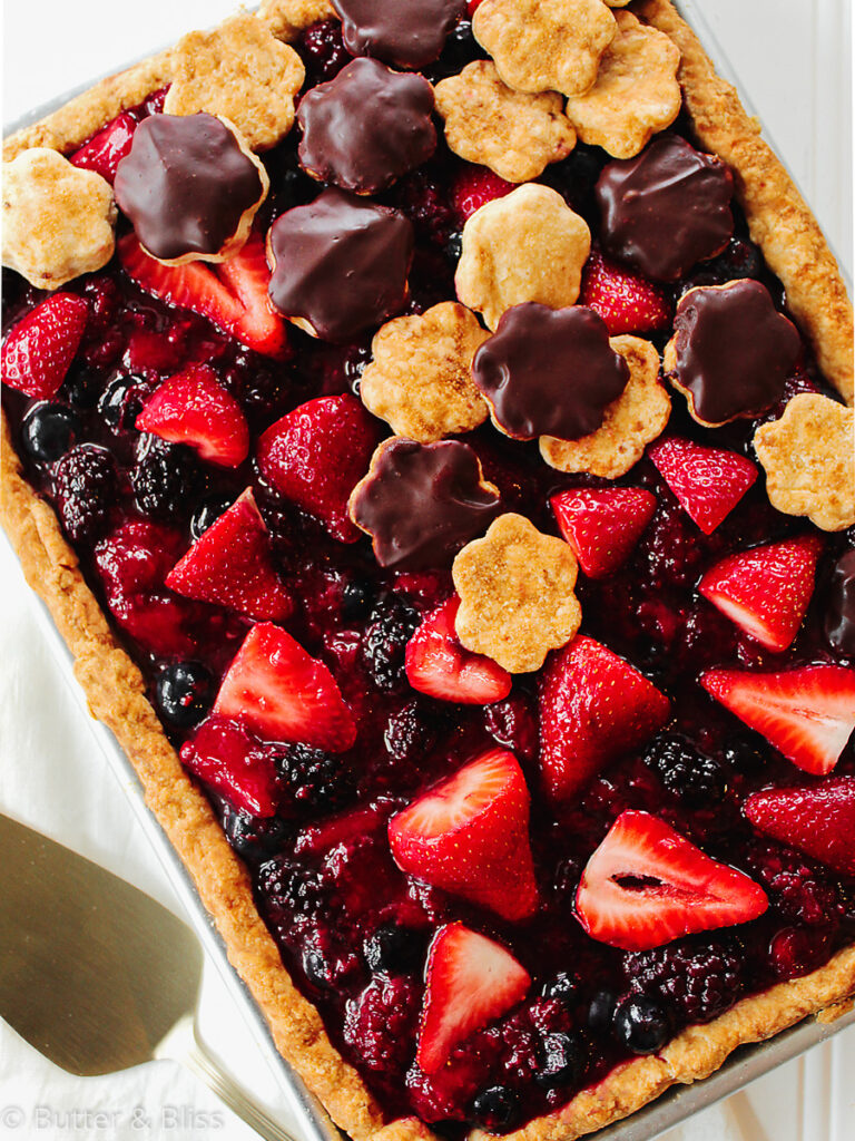Small berry and chocolate slab pie