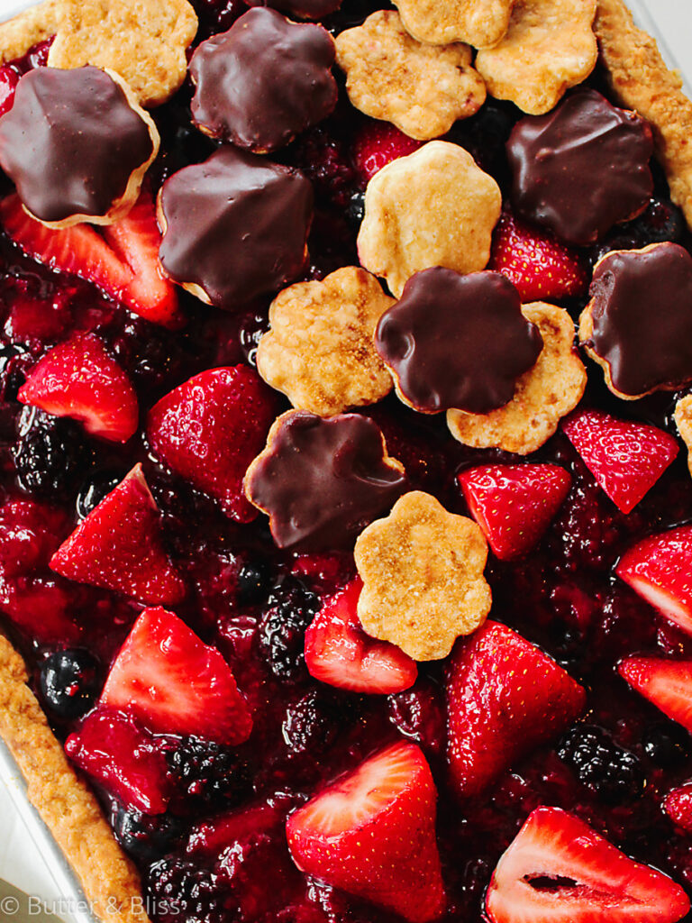 Close up of berry and chocolate slab pie
