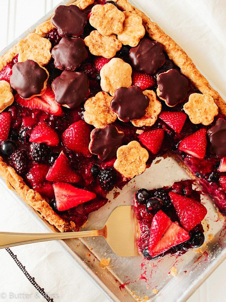 Berry slab pie in a baking pan