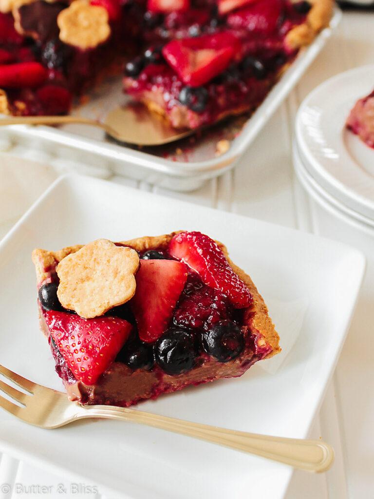 Berry slab pie slice on a plate