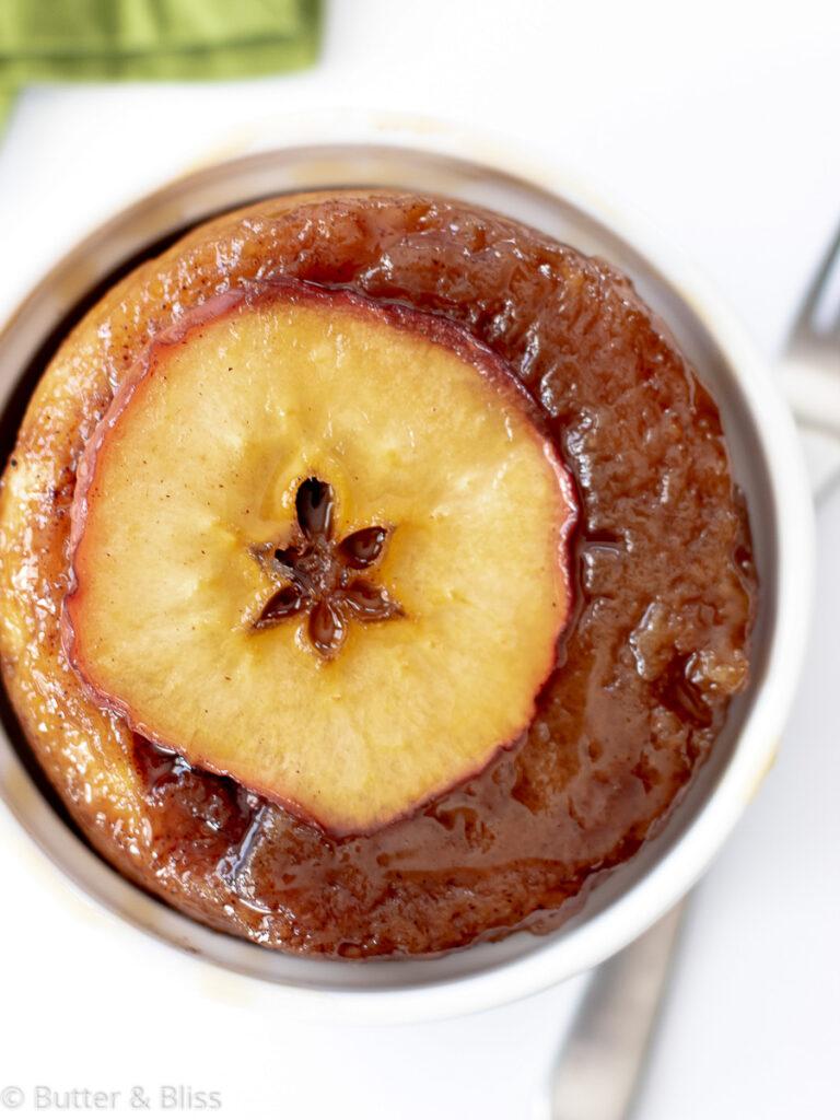 Caramel apple sweet roll in a dish