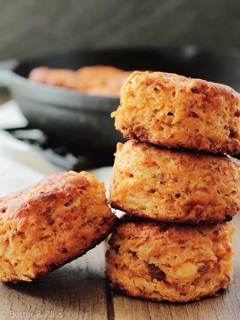 Cheddar and chorizo biscuits stacked