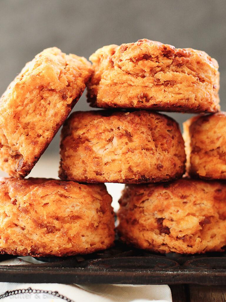 Stack of chorizo buttermilk biscuits