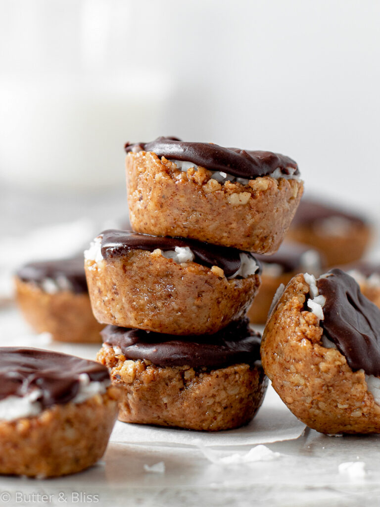 Healthier coconut chocolate candies stacked