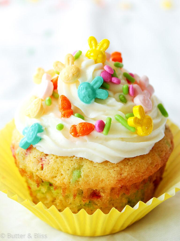 Single funfetti cupcake with sprinkles
