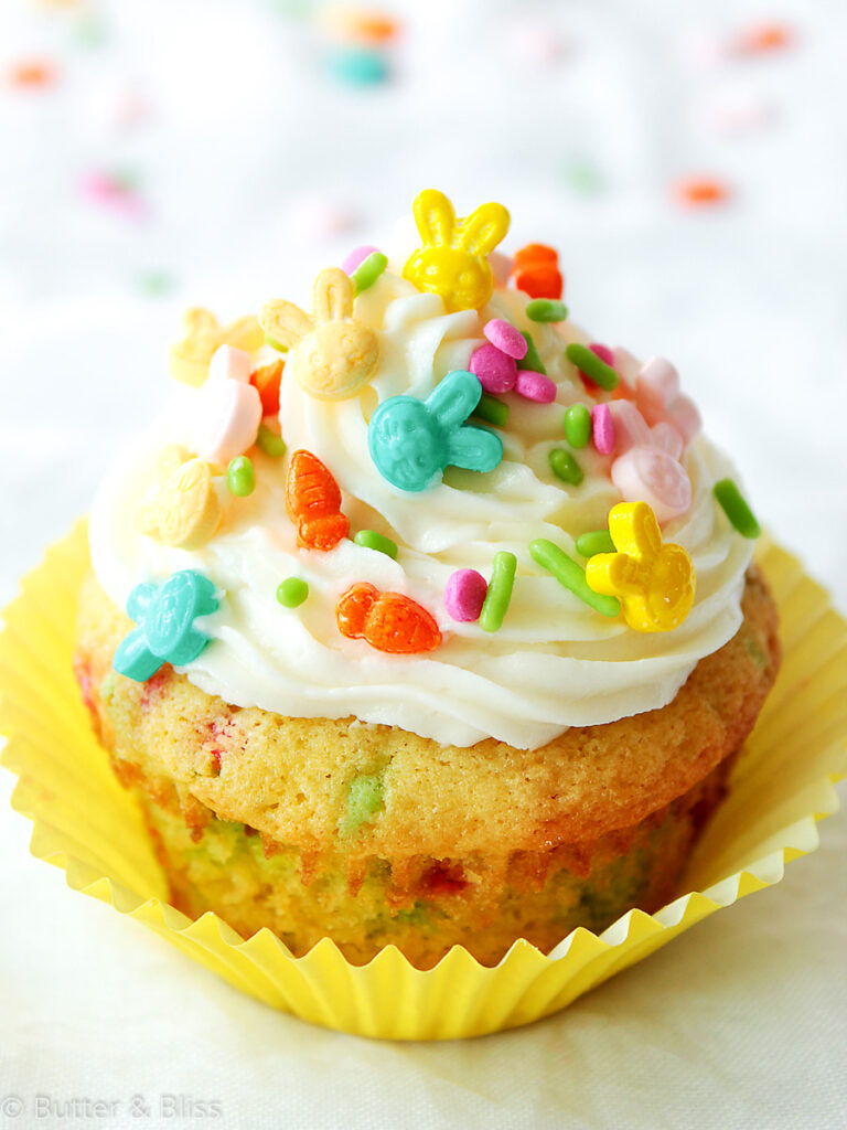 Frosted small batch funfetti cupcake with sprinkles
