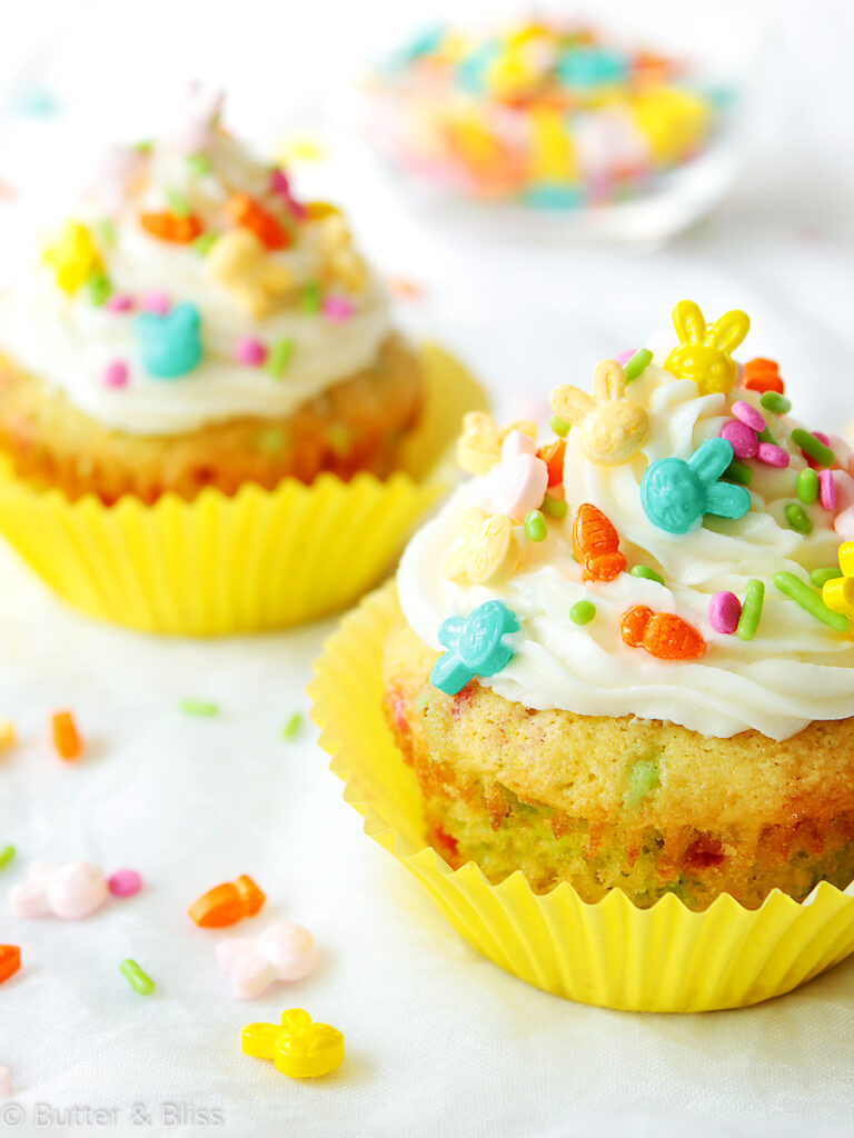 Funfetti small batch cupcakes on a table
