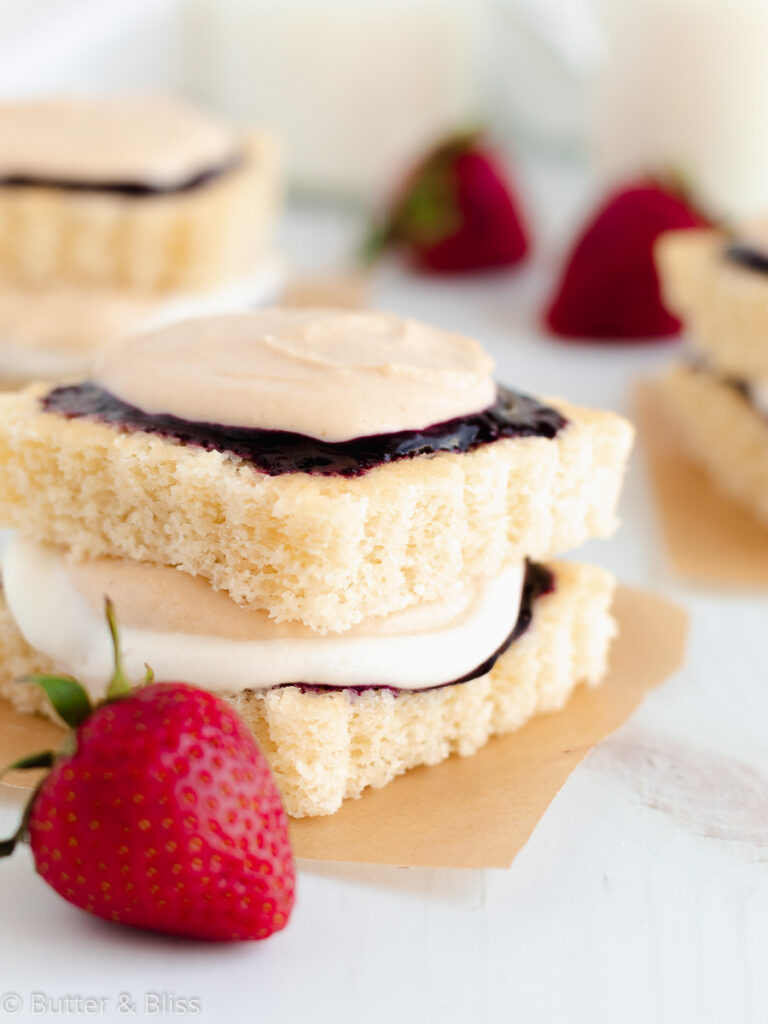 Hot milk cake with peanut butter and jelly filling