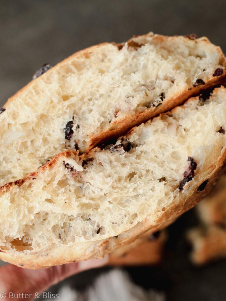 Kalamata and onion piece of bread