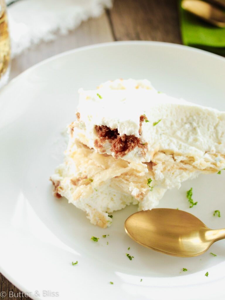 Lime cracker icebox pie in a dish