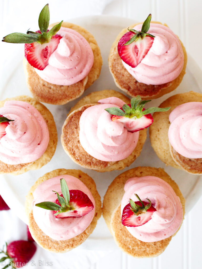 Platter of maple strawberry cupcakes