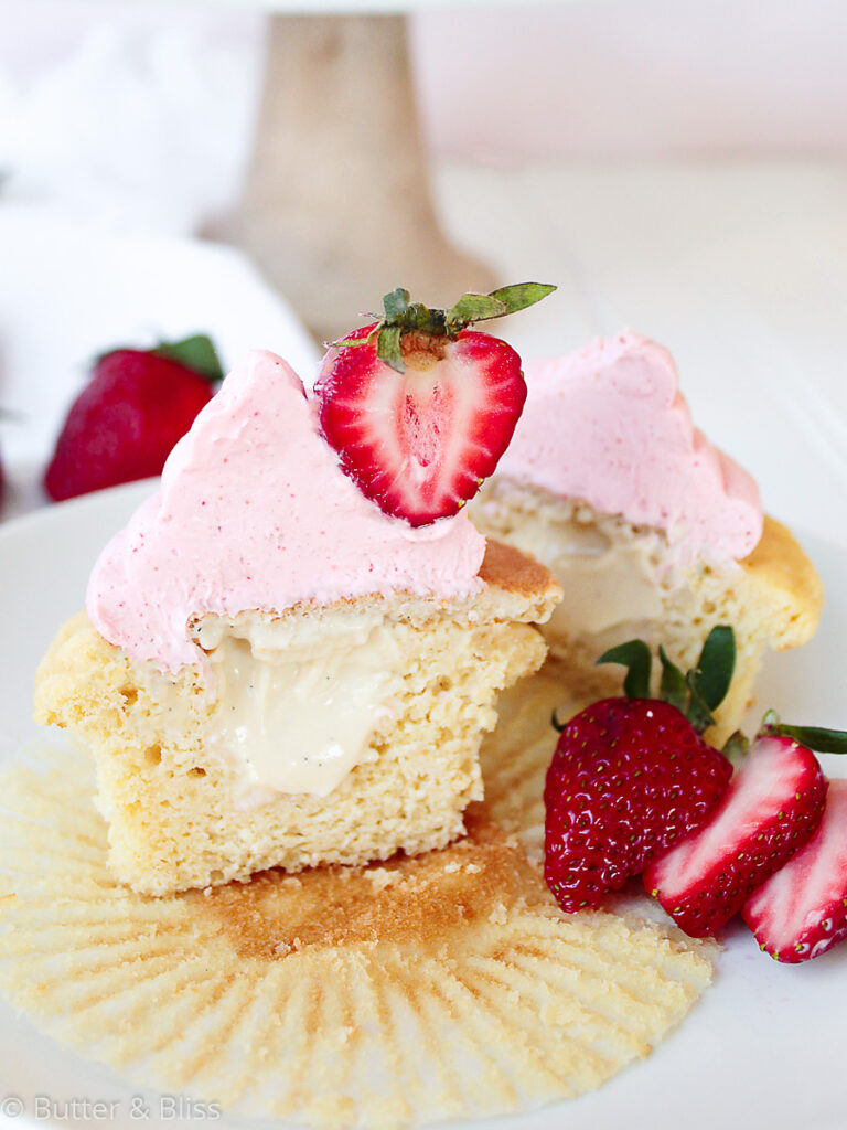 Filled maple strawberry cupcake