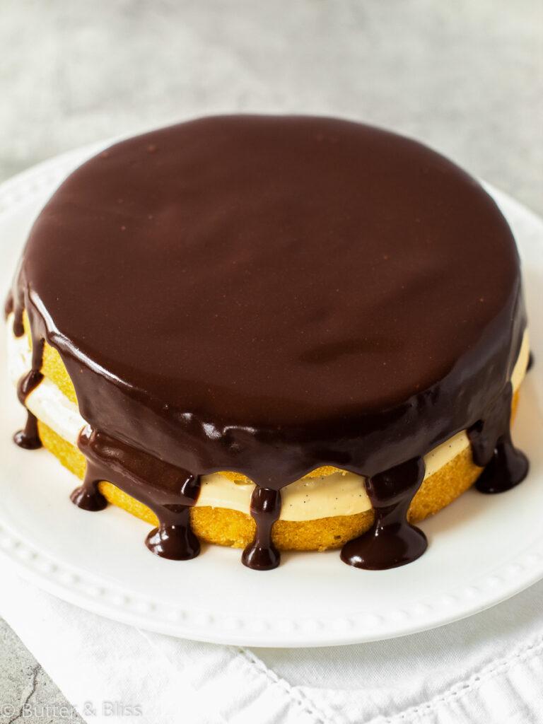 Mini boston cream pie on a platter