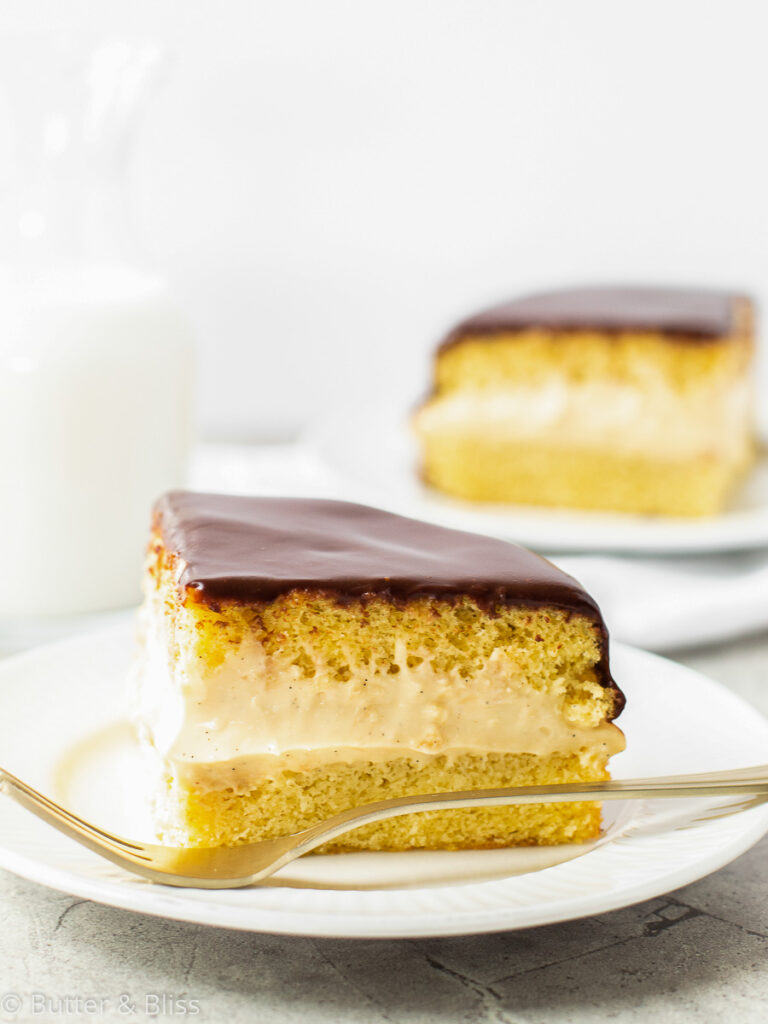 Single slice of vanilla and chocolate cake