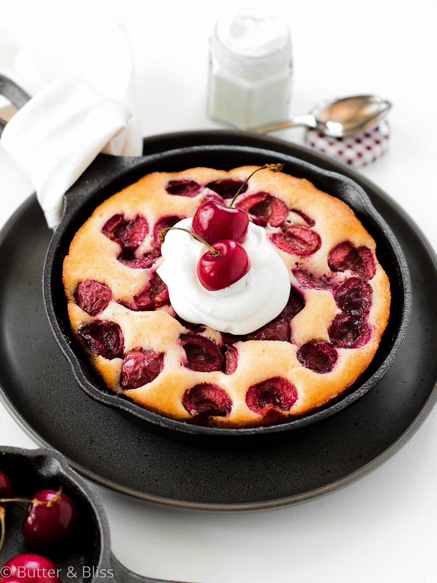 Cherry cake in a skillet