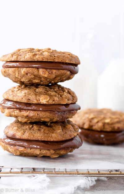 Stacked nutella sandwich cookies