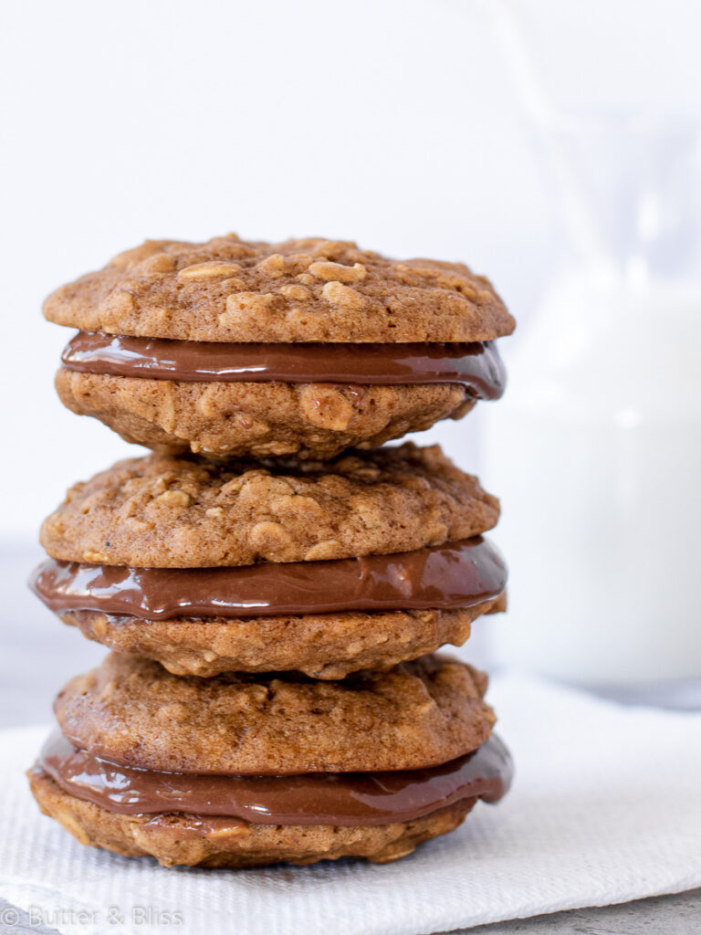 Oatmeal nutella sandwich cookies stacked