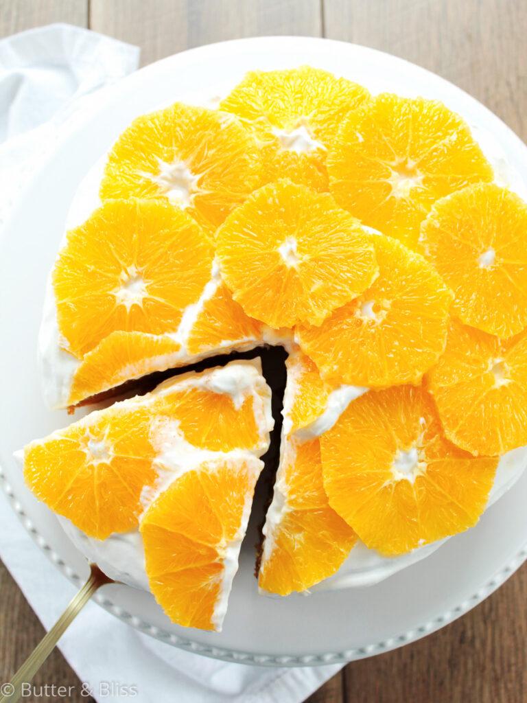 Olive oil and orange cake with orange slices