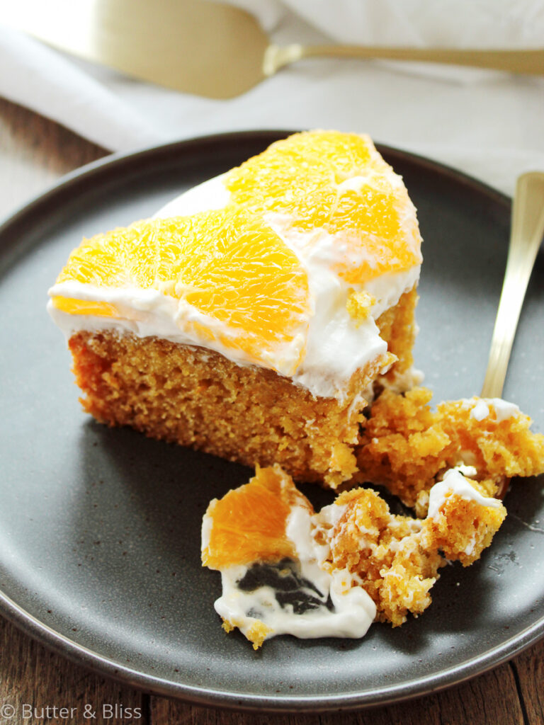 Slice of olive oil and orange cake