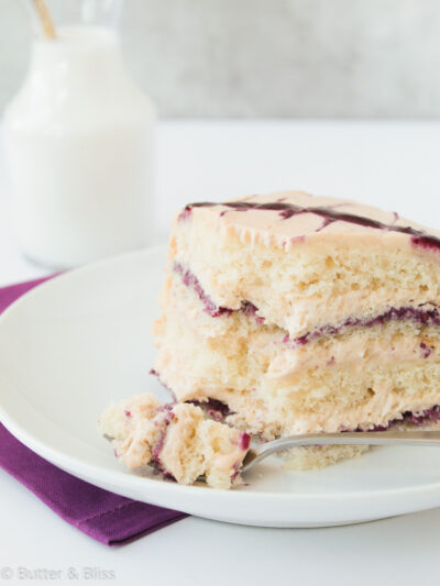 Slice of peanut butter mousse and jelly cake
