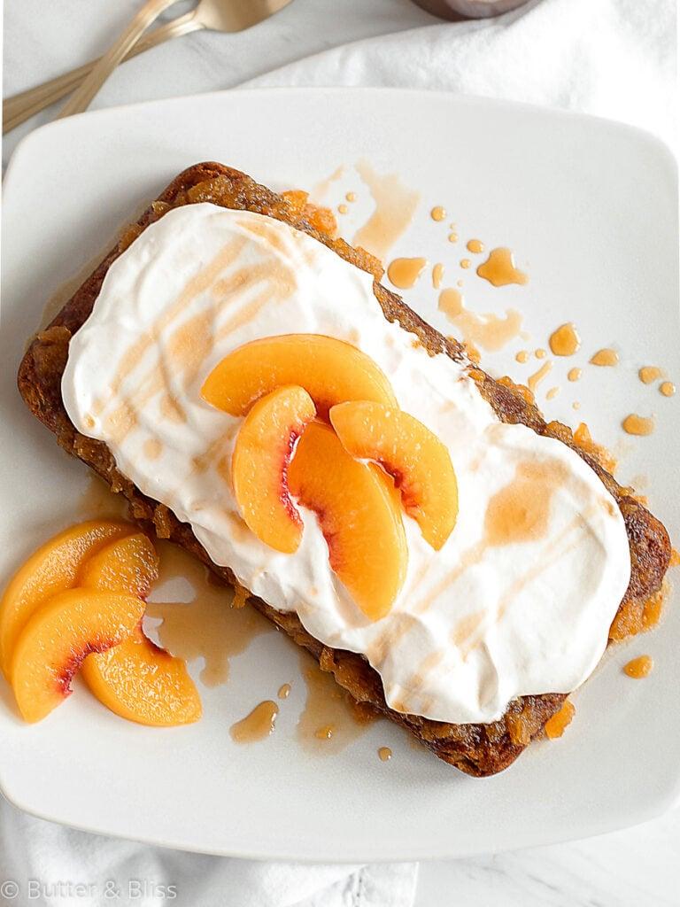 Peach caramel cake on a plate